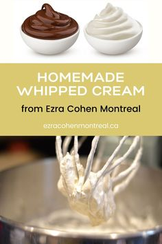 Homemade Whipped Cream from Ezra Cohen Montreal is so easy to make. It's the perfect accompaniment to all the best desserts and treats like cake, hot chocolate, cookies, and more! Hot Chocolate Pancakes, Pancakes And Waffles, Chocolate Cookies, Making Whipped Cream, Homemade Whipped Cream, Butter Recipe, Nut Butter, Biscuit Spread, Pecan Pralines