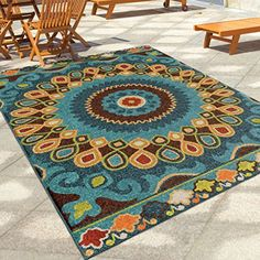 Contemporary, Bohemian Style 5' x 8' Indoor/Outdoor Stain...