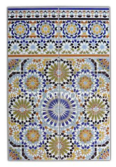 New bathroom feature wall? don't think I would have the guts Arabesque, Moroccan Wall Tiles, Bathroom Feature Wall, Spanish Tile, Spanish Bathroom, Italian Bathroom, Moroccan Furniture, Style Tile, Moorish