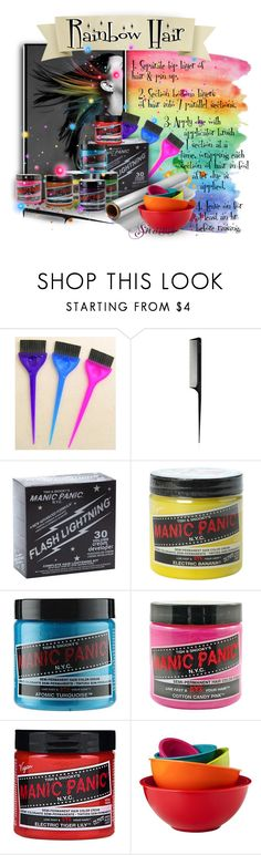 """""""Rainbow Hair DIY"""" by sica1616 ❤ liked on Polyvore featuring beauty, T3, Manic Panic NYC, Haze, Trilogy, Room Essentials, manicpanic, tips, vegan and rainbowhair"""