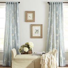 Delfina Floral Embroidered Curtain - Blue. Master bedroom drapes