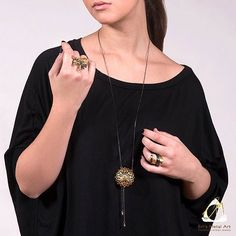 Handmade Long Gold Plated Black Silver Chain Necklace With A Sea Urchin Pendant - Anthos Crafts Jewelry Art, Jewelry Accessories, Sea Urchin, Silver Chain Necklace, Necklaces, Bracelets, Handmade Art, Metal Art, Black Silver