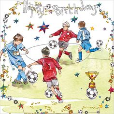 NAME: Birthday Footballers CODE: S275 PRICE: £2.00 Presentation: With a white 100 gsm, 100% recycled, envelope. Blank for your own message. Paper Type: Gloss Varnish Artist: Lorraine Duff Size: 5 x 5"