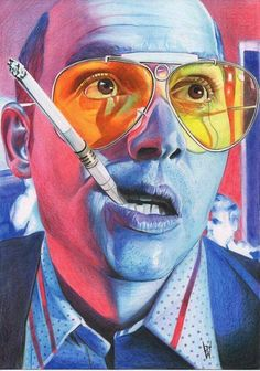 Fear and loathing in las vegas. Johhny depp color pencil drawing