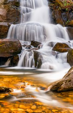 Laurel Falls, a popular waterfall in Great Smoky Mountains National Park, Tennessee, USA