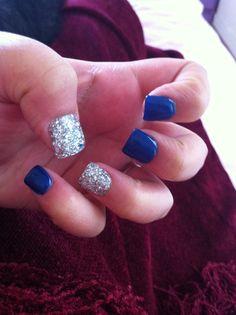 Navy blue/ Silver Nails
