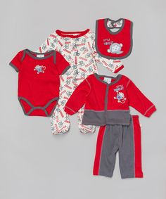 Loving this Duck Duck Goose Red & Charcoal Little Monkey Five-Piece Layette Set on #zulily! #zulilyfinds