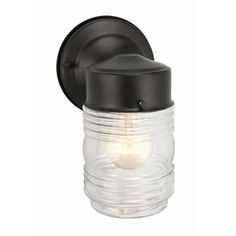 Design House Wall Mount Outdoor Black Jelly Jar Wall Light-502195 at The Home Depot