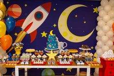 Space Themed Baby Shower Space Baby Shower, Baby Shower Parties, Baby Shower Themes, Baby Boy Shower, Baby Shower Decorations, Birthday Decorations, Mine Craft Party, 2nd Birthday Party Themes, Kids Party Themes