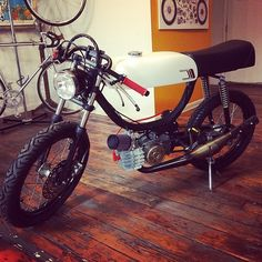 mopedsofinsta's photo Custom Moped, Custom Bikes, Steel Fabrication, Cool Bikes, Motorbikes, Cars Motorcycles, Metal Working, Old School, Cafe Racers