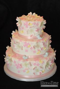 Pink, Dogwood Blossom and little bluebirds were the the… 90 Birthday, 90th Birthday Cakes, Birthday Ideas, Crazy Cakes, Fancy Cakes, Pink Dogwood, Bluebirds, Awesome Cakes, Pretty Cakes