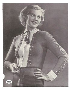 1930s Knitting Pattern for Womens Tyrolean Smocked Cardigan / Vest / Jacket - 33 in bust 84 cm  - Digital PDF by Interbellum on Etsy https://www.etsy.com/listing/218329381/1930s-knitting-pattern-for-womens