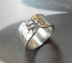 Size 8 Autumn tree ring rustic silver ring hammered ring by Mirma on Etsy, $39.00
