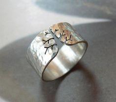 VENTA de Navidad 15% otoño árbol anillo, anillo rústico de plata, martillado anillo, joyería de metal