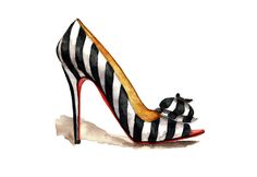 http://society6.com/lookillustrated Stripes and Bows Art Print, striped shoe, red sole, art print, fashion illustration, fashion sketch, high heel shoes illustration