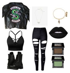 """""""Riverdale: Southside Serpent inspired look"""" by jugheadjonesthethird ❤ liked on Polyvore featuring Express, Alex and Ani, J.TOMSON, Capezio, WithChic, Lime Crime and Make"""
