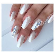 Pearl White Nails With Rhinestones