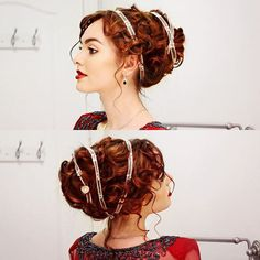 Rose from The Titanic look numba 2 I recreated! Gorgeous updo that isn't too hard to do!!✨⛴⚓️ #curls #updo #JHairDay #thetitanic #titanic #titanicmovie #katewinslet #jackiewyers #hairpiece #redhair #vintageinspired #vintage #hairpost