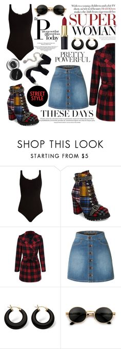 """""""street style: plaid"""" by caitlinleanne48 ❤ liked on Polyvore featuring Wolford, Jeffrey Campbell, LE3NO, Bobbi Brown Cosmetics, Palm Beach Jewelry and Sweet Romance"""