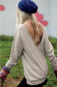 v-back sweater + beanie