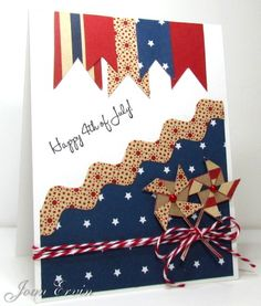 handmade card ... Happy July 4th!! ... great use of patterned papers in patriotic colors ... on-trend diagonal line, chevron die cut and fishtail pennants ... luv it!!