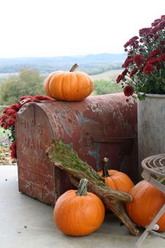 """"""" Vintage Mailbox On The Porch For Fall Decorating. """""""