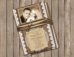 Wedding Invitation ,Rustic, Wood and Lace, Digital file, Printable on Etsy, $15.00