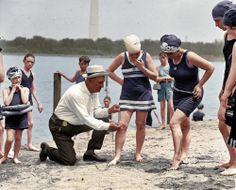 Beach policeman, Potomac river, 1922