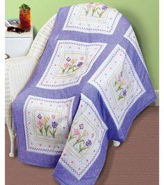 Janlynn Tulip Garden Quilt Blocks Stamped Cross Stitch