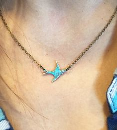 Swallow Pendant Necklace-Small Closeup