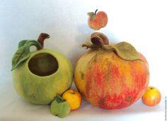 """Купить Вазы интерьерные """"Яблоки"""". - зеленый, красный, яблоко, шкатулка, хранение мелочей, хранение украшений"""