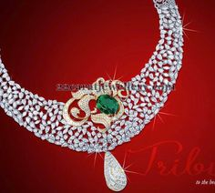Jewellery Designs: Sparkling Diamond Necklace with Floral Motif