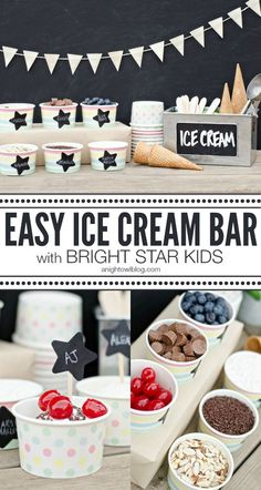 You can set up this easy Ice Cream Bar in just minutes! Makes for a really simple party! Sundae Bar, Ice Cream Social, Icecream Bar, Easy Icecream, Sleepover Party, Sleepover Activities, Ice Cream Party, Sweet 16, Treats