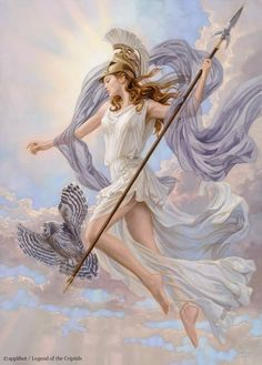 Athena, Goddess of Wisdom and her sacred owl, Annabeth's mother