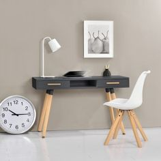 Desk- comfortable work surace - storage area due to integrated drawers- wooden legs made of massive beech- MDF working surface, matte lacqueredDimensions (HxWxD): Home Office, Office Desk, Office Furniture, Furniture Design, Console, Casa Retro, Mid Century Desk, White Desks, Decoration