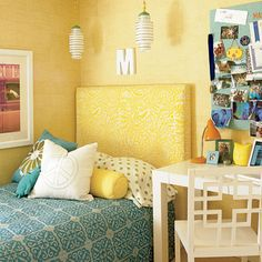 Cute headboard, and great colors
