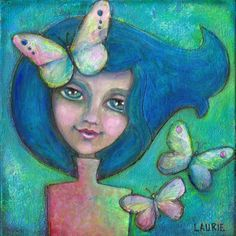 My Blue Butterfly A Sweet Sapphire Haired by ArtfulBitsAndBytes, $9.00