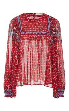 This **Ulla Johnson** Minou Printed Blouse is rendered in silk and features a sheer pattern, puffed sleeves, and cuff detailing.