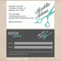 hairstylist referral cards, hair salon referral cards, simple hairstylist referral cards, simple hair salon referral cards