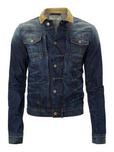Jack & Jones Denim jacket with cord collar - Men