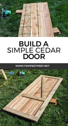 Are you looking for a simple way to build a door? Maybe one with color? This is how to build a simple cedar shed door. Are you looking for a simple way to build a door? Maybe one with color? This is how to build a simple cedar shed door. Cedar Door, Cedar Shed, Garage Velo, Shed Construction, Firewood Shed, Building A Door, Building Plans, Building Design, Build Your Own Shed