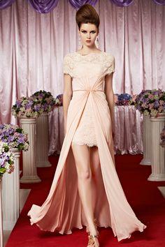 Elegant Sheath/Column Bateau Short Sleeves Crystal Detailing Ruffles Sequins Floor-length Lace Chiffon Evening Dresses