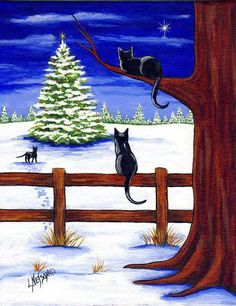 Three Barn Cats and a Christmas Tree Painting by Artist Lisa M. Christmas Tree Canvas, Christmas Paintings On Canvas, Christmas Tree Painting, Winter Painting, Winter Art, Winter Christmas Scenes, Noel Christmas, Christmas Animals, Christmas Cats