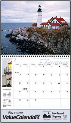 2017 Lighthouses Calendar | Personalized Spiral Bound; Drop Ad Imprint Wall Calendars, beach themed calendars, beach themed stationary, lighthouse, ocean stationary, lighthouse wall calendar, lighthouse scenery, beach calendar, ocean scenic calendar, business gift, valuecalendars.com, corporate gift wall calendar, spiral wall calendar, holiday gift promotions, promotional products, promotional lighthouse calendar, business logo calendar, new england lighthouses, beach calendar, beach scene