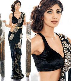 Shilpa Shetty in the black saree with silver embellishments and mirror work by Tantra By Ratna Jain Red Lehenga, Indian Bridal Lehenga, Indian Beauty Saree, Lehenga Choli, Trendy Sarees, Stylish Sarees, Indian Bollywood Actress, Bollywood Fashion, Beautiful Blouses
