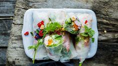 Sommerruller med reker Vietnamese Recipes, Vietnamese Food, Frisk, Fresh Rolls, Dairy Free, Healthy Eating, Healthy Food, Food And Drink, Healthy Recipes