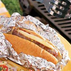 Tailgate Sausages Recipe -You'll need just a handful of ingredients to fix these tasty sandwiches from our Test Kitchen. Fully cooked sausages are stuffed… Tailgating Recipes, Tailgate Food, Grilled Italian Sausage, Football Snacks, Delicious Sandwiches, Nutrition, How To Cook Sausage, Game Day Food, Recipe Search