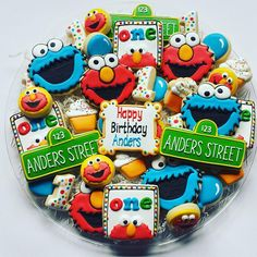BOOKED FOR MARCH & APRIL *no more orders will be accepted *Before ordering please check shop announcements for blocked out dates* Cookies are made to order and custom to the customers request as well as my creativity. Pictures represent previously ordered platters. What you get may Elmo First Birthday, Boys First Birthday Party Ideas, Monster Birthday Parties, Elmo Party, 3rd Birthday Parties, Mickey Party, Dinosaur Party, Dinosaur Birthday, Sesame Street Birthday Cakes