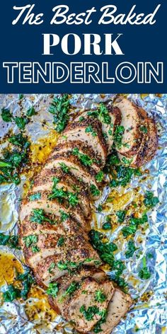 The Best Baked Garlic Pork Tenderloin Recipe Ever - The Best Baked Garlic Butter Pork Tenderloin recipe ever - perfect pork cooked in a rich buttery garlic sauce and oven roasted to tender perfection. Garlic Pork Tenderloin Recipe, Pork Tenderloin Marinade, Marinated Pork Tenderloins, Oven Baked Pork Tenderloin, Healthy Pork Tenderloin Recipes, Pork Loin, Pork Chop Recipes, Oven Recipes, Meat Recipes