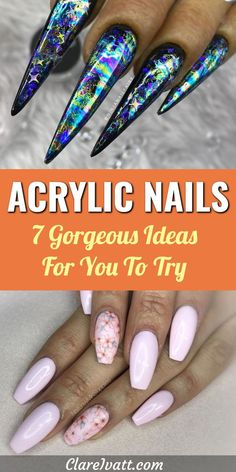 Here are 7 colorful and exciting designs for acrylic nails.  With spectacular nail art designs for the most dressed-up occasion as well as beautiful colors and ideas for acrylic nails you could wear every day, you'll find great inspiration here for your next look.  #nails #nailart #acrylic #acrylicnails #naildesigns #acrylicnaildesigns